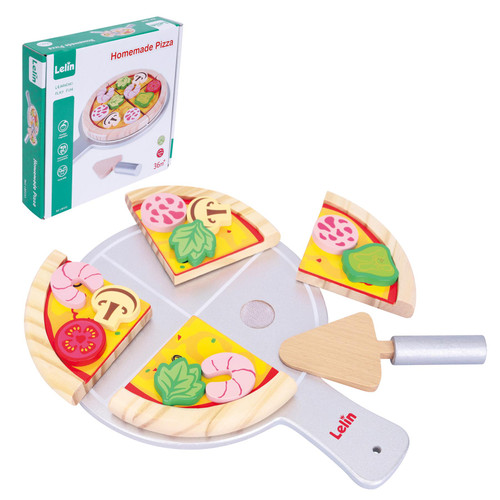 Lelin Wooden Homemade Pizza Pretend Play Food Toy Set