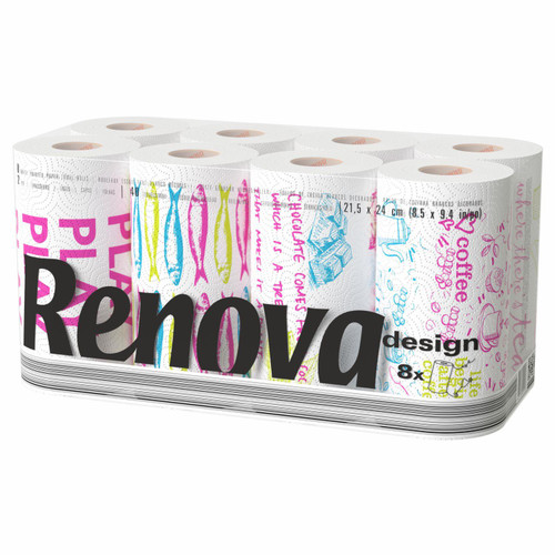 Renova 2 Ply Paper Towels - White Desing 8 Rolls Pack -  40 Sheets per Roll