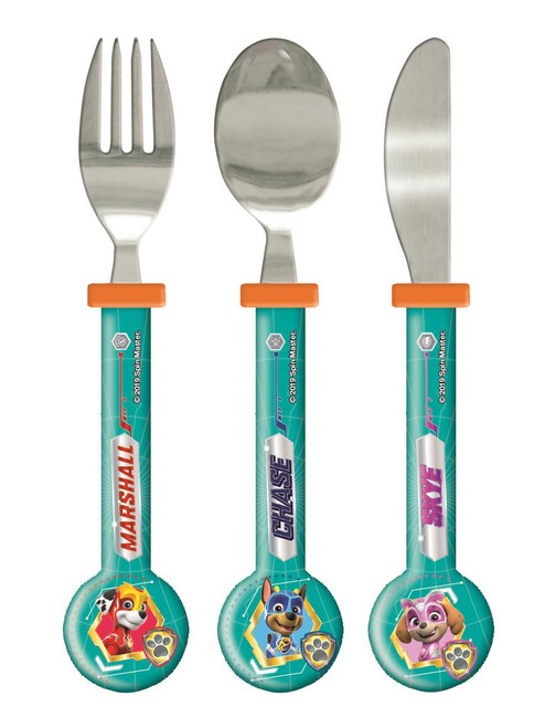 Paw Patrol Mighty Pups 3 Piece Round Cutlery Set for Kids