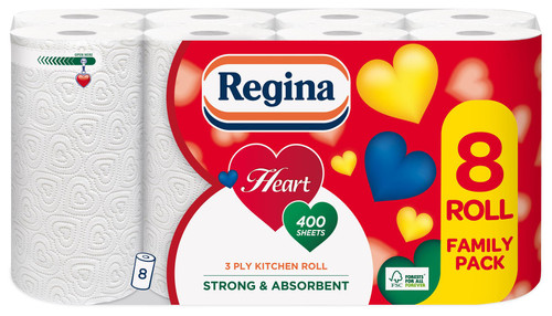 Regina Heart 3 Ply Kitchen Roll - 8 Rolls of Super Strong Absorbent Kithen Towel Sheets