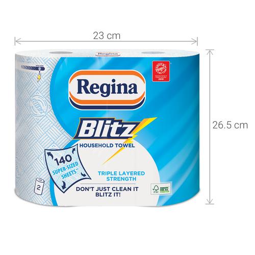 2 Rolls Of Regina Blitz 3 Ply Kitchen Roll Paper Towels - 70 Sheets Per Roll