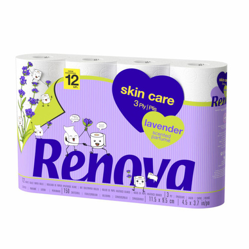Renova Skincare 12 Toilet Rolls - Soft 3 Ply Quilted Lavender Scent Tissues – 150 Super-Soft Perfumed Luxurious Sheets per Roll