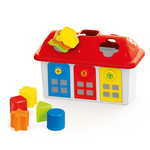 SOKA Shape Sorter Happy House with 5 Shapes, 3 Keys for Lockable Doors