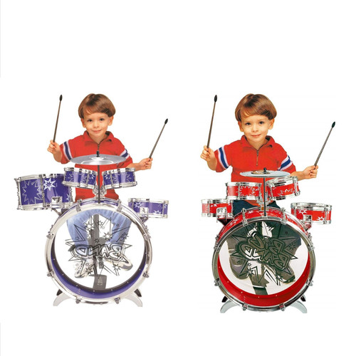 SOKA® Big Band Children's Rockstar Drums & Cymbal Kit With Stool – Realistic Design Kid'S Musical Instrument Percussion Toy