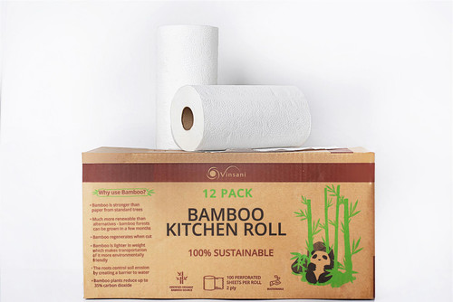 Vinsani Bamboo Kitchen Towels – 12 Rolls of Super Absorbent, Eco-Friendly & 100% Natural Kitchen Tissues in Environment Friendly Packaging, 1200 Sheets Total