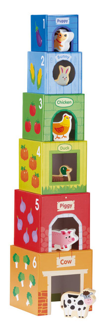 LELIN 12 Pcs Cardboard Farm Animals Stacking Cubes Educational Toy For Children