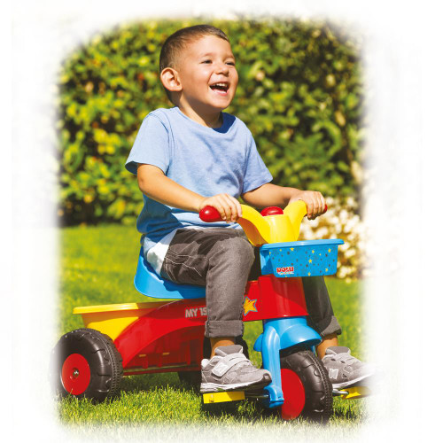 SOKA My First Trike with Front and Rear Basket for Kids Childrens Multi-Coloured Outdoor Pedal Tricycle Bike with Horn