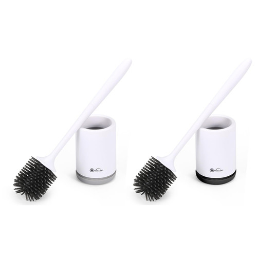 Vinsani Deep Cleaner Toilet Brush with Non-Slip Long Plastic Handle and Flexible Bristles, Rubber Toilet Brush with Quick Drying Holder Set for Bathroom Toilet