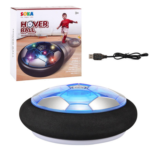 SOKA Rechargeable Hover Ball for Indoor Outdoor Football - Colourful LED Light Gliding Air Floating Soccer Toy with Foam Bumpers