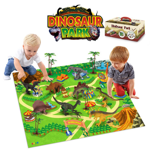 SOKA Dinosaur Jurassic Toy Figure Set with Activity Play Mat & Trees for kids