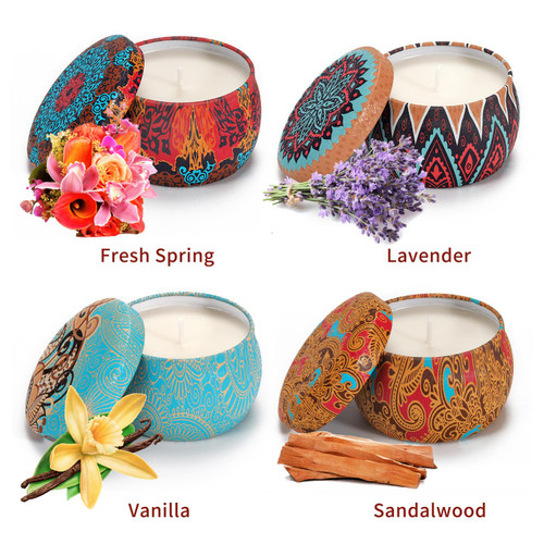 Vinsani 4pcs Portable Tin Floral Scented Candles Women Gift Soy Wax Jar Scented Candle Set Gift Box Set Home Decoration