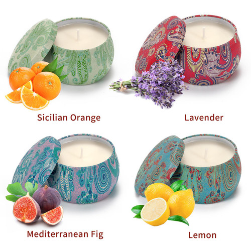 Vinsani 4pcs Portable Tin Scented Candles Women Gift Soy Wax Jar Scented Candle Set Gift Box Set Home Decoration