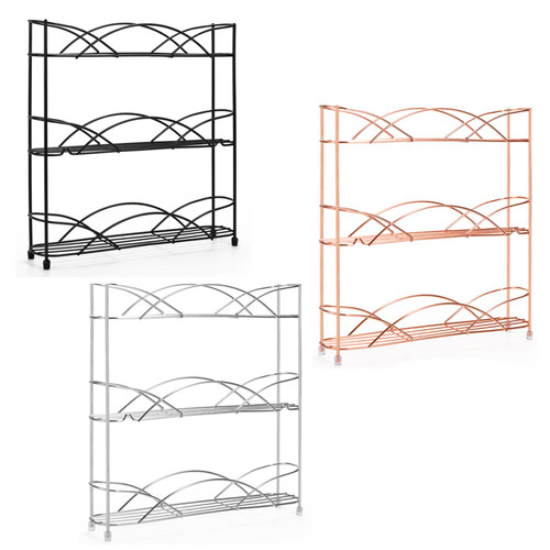 Vinsani Spice Rack 3 Tiers - Kitchen Shelf Organiser for Jars Bottles Space Saving Storage - Free Standing