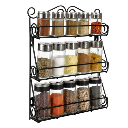 Vinsani Spice Rack 3 Tiers - Kitchen Shelf Organiser for Jars Bottles Space Saving Storage - Free Standing or Wall mountable - Black