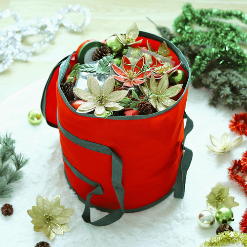 Vinsani® Christmas Gift Wrapping Decoration Fabric Storage Bag Red 38 x 32 x 32 cm