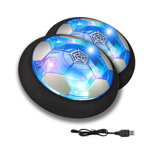 SOKA TWIN PACK Rechargeable Hover Ball for Indoor Outdoor Football - Colourful LED Light Gliding Air Floating Soccer Toy with Foam Bumpers