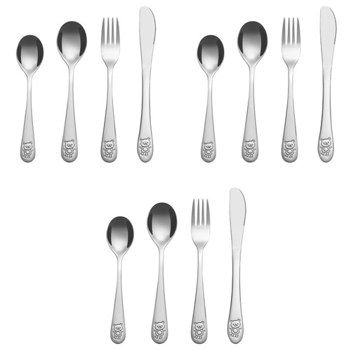 Vinsani 12 PCS Stainless Steel Children's Cutlery Set, Little Bear Kids Cutlery 3 x Dinner Knife 3 x Fork 3 x Spoon 3 x Dessert Spoon Child and Toddler Safe Silverware Flatware for Home Primary Schools