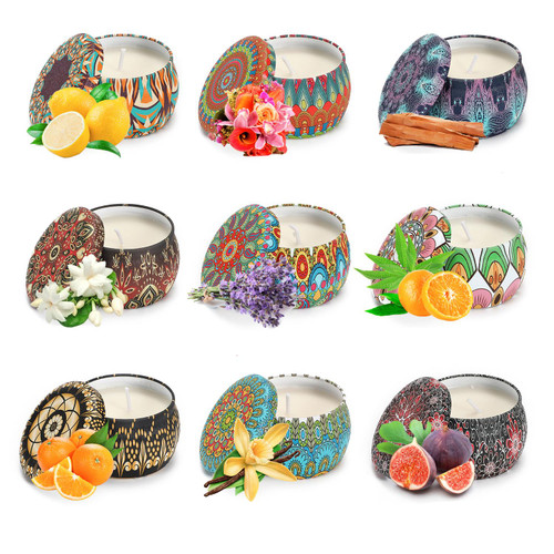 Vinsani 9pcs Portable Tin Scented Candles Women Gift Soy Wax Jar Scented Candle Set Gift Box Set Home Decoration