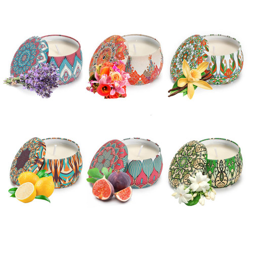 Vinsani 6pcs Portable Tin Scented Candles Women Gift Soy Wax Jar Scented Candle Set Gift Box Set Home Decoration