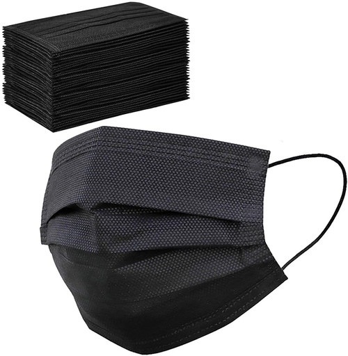 Vinsani CE approved 50 x Disposable Black Face Masks 3Ply Dental Non Medical Surgical Mask Covering