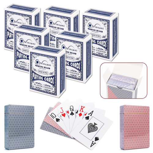 Vinsani Traditional Check Poker Casino Plastic Coated Playing Cards Decks (2 / 4  / 6 / 12)