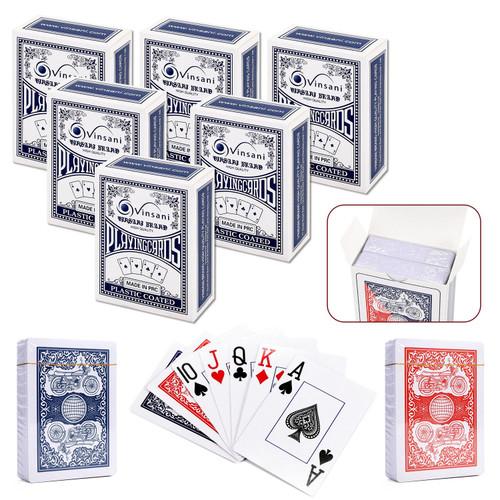 Vinsani Traditional Motorbike Poker Casino Plastic Coated Playing Cards Decks (2 / 4  / 6 / 12)