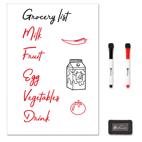 Vinsani Magnetic Whiteboard  A3 Size - Make Notes, Lists, Memos, Menus. for Home, School, Office and Kitchen Use with 2 Free Magnetic Dry Wipe Pens and Magnetic Eraser (29.7 x 42.8 cm)