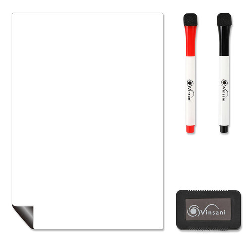 Vinsani Magnetic Whiteboard  A4 Size - Make Notes, Lists, Memos, Menus. for Home, School, Office and Kitchen Use with 2 Free Magnetic Dry Wipe Pens and Magnetic Eraser (29.7 x 21 cm)
