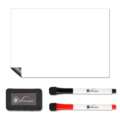 Vinsani Magnetic Whiteboard  A5 Size - Make Notes, Lists, Memos, Menus. for Home, School, Office and Kitchen Use with 2 Free Magnetic Dry Wipe Pens and Magnetic Eraser (14.8 x 21 cm)