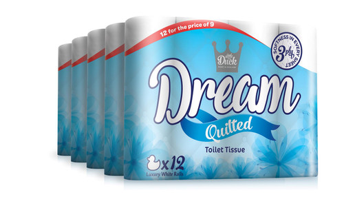 Little Duck Dream 60 Toilet Rolls, Soft 3 Ply Quilted Tissues,145 Super-Soft Perfumed Luxurious White Sheets per Roll