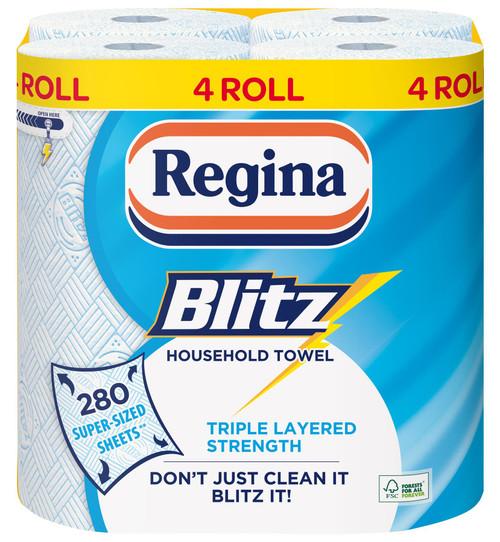 Regina Blitz Household Towel, 4 Rolls, 280 Super-Sized Sheets, 3ply Triple Layered Strength