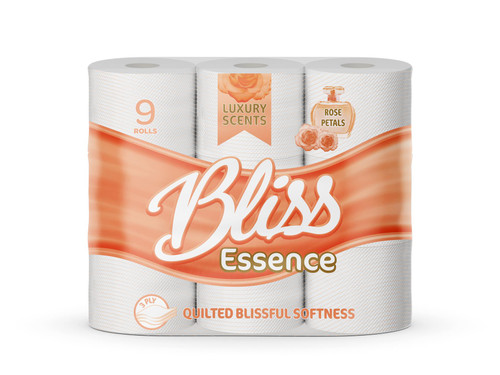 Bliss Essence 45 Toilet Rolls, Soft 3 Ply Quilted Tissues, Perfumed Luxurious White Sheets, Rose Petal
