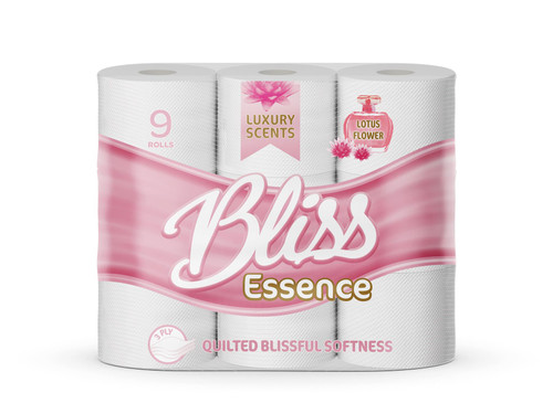Bliss Essence 45 Toilet Rolls, Soft 3 Ply Quilted Tissues, Perfumed Luxurious White Sheets, Lotus Flower