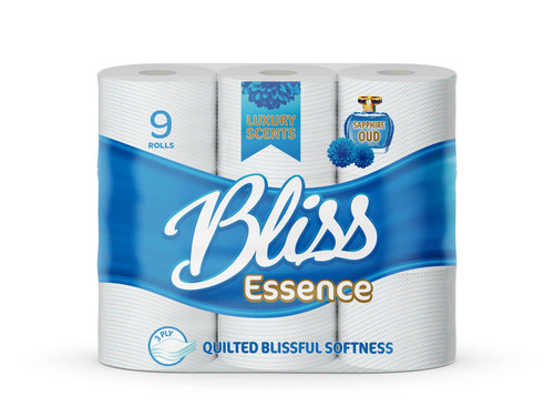 Bliss Essence 45 Toilet Rolls, Soft 3 Ply Quilted Tissues, Perfumed Luxurious White Sheets, Sapphire Oud