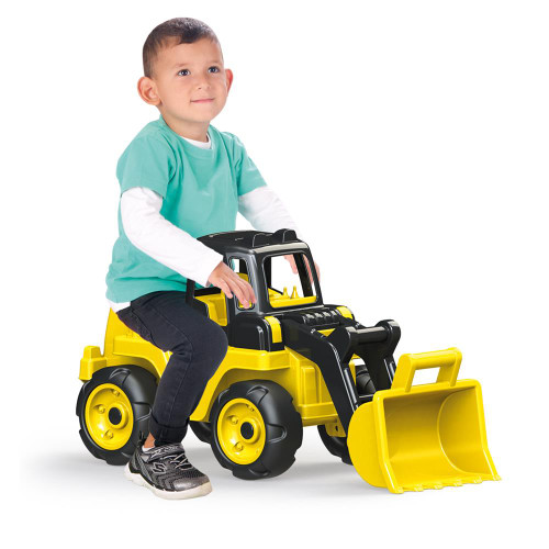 SOKA Giant Yellow Sit and Ride On Excavator W/ Front Loader Digger Four Wheels Child Toy