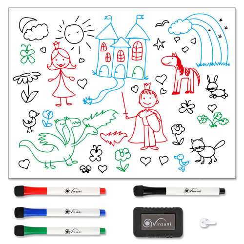 Vinsani Magnetic Whiteboard  60 x 90 cm Size - Make Notes, Lists, Memos, Menus. for Home, School, Office and Kitchen Use with 4 Free Magnetic Dry Wipe Pens and Magnetic Eraser