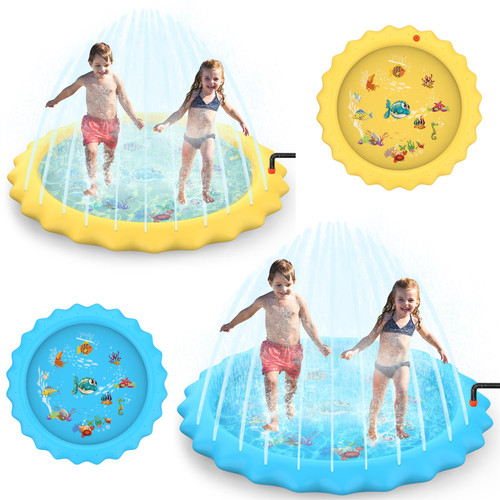 SOKA Large Round Sprinkle and Splash Water Play Mat Sprinkler Splash Pad Summer Spray Inflatable Water Toy for Kids and Outdoor Garden Family Activities
