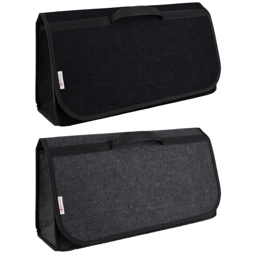 Vinsani Dark Grey / Black Anti Slip Car Trunk Boot Storage Organiser Case Tool Bag - Suitable for All Vehicles