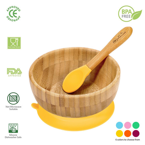 Vinsani Bamboo Bowl and Spoon Set for Baby/Toddler, Suction Plate, Stay-Put Design, Hypoallergenic and BPA-Free