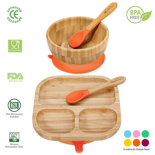 Vinsani Bamboo Bowl, Square Plate and Spoon Set for Baby/Toddler, Suction Plate, Stay-Put Design, Hypoallergenic and BPA-Free