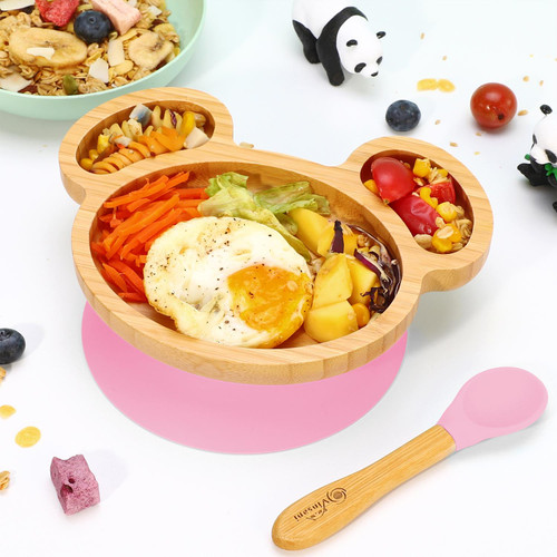 Vinsani Mouse Bamboo Plate and Spoon Set for Baby/Toddler, Mouse-Shaped Suction Plate
