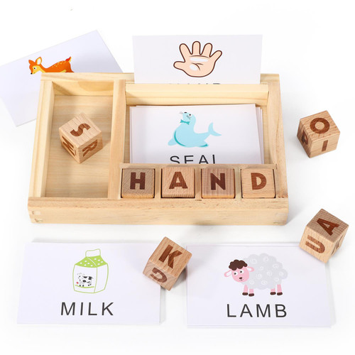SOKA Wooden Spelling Game, Learning Matching Letter and Develops Alphabet Spelling Skills Montessori Educational Memory Games for Children 3+