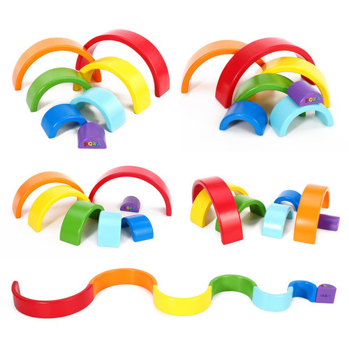 Wooden Rainbow Stacker Learning Toy Educational Creative Fun Building Blocks Puzzle Stacking Toy 7PCS