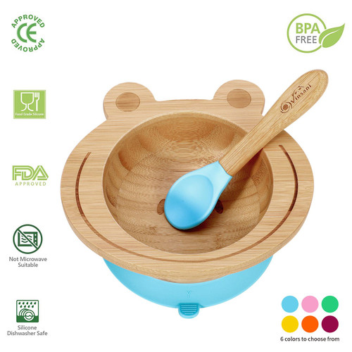 Vinsani Frog Bamboo Bowl and Spoon Set for Baby/Toddler, Frog Shaped Suction Bowl, Stay-Put Design, Hypoallergenic and BPA-Free
