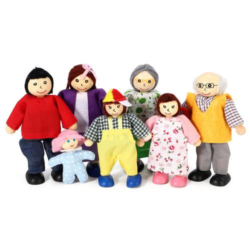 SOKA 7 Pcs Wooden Happy Family Dolls Pretend Role Play Toy Set