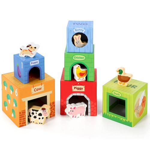 SOKA 12 Pcs Cardboard Farm Animals Stacking Cubes Educational Toy For Children