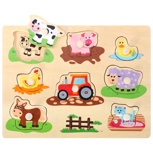 SOKA Wooden Farm Animals Peg Puzzles Toy Montessori Jigsaw Puzzle Board Colourful Images for Learning Animals – Ideal Gift for Toddlers Kids Children 12 Months +