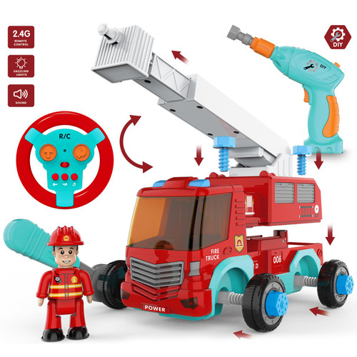 SOKA Build Your Own Take-A-Part Fire Engine Truck Kit For Boys Aged 3 Years & Above with Electric Drill, Realistic Sounds & Lights