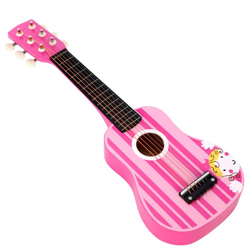 SOKA Wooden Pink Stripe Striped Pink Princess Guitar Children Girls Instrument