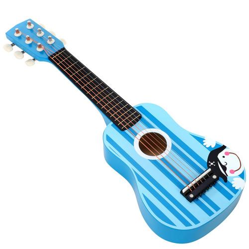 SOKA Wooden Stripe Striped Blue Pirate Guitar Childrens Musical Instrument